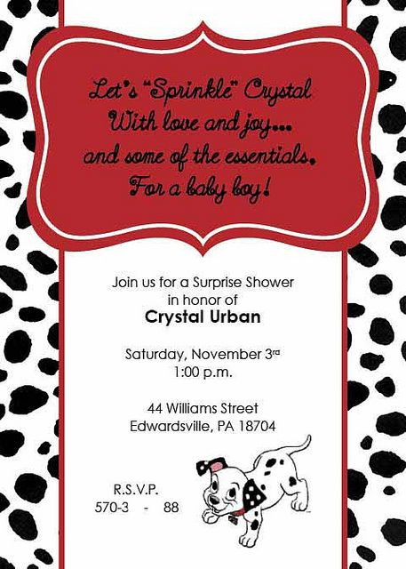 101 Dalmatian Sprinkle Baby Shower Invitation Sprinkle Baby Shower Invitations Sprinkle Baby Shower Personalized Baby Shower Invitations
