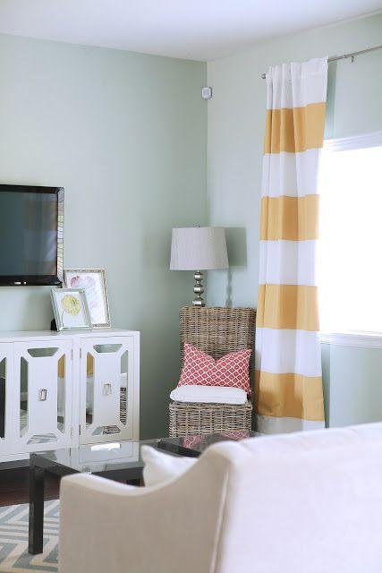 Blue, yellow, raspberry living room.  Love.