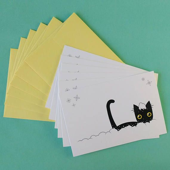 Funny Cat Christmas Holiday Cards Set Of 4 Greeting Card Etsy Christmas Cards Handmade Cat Christmas Cards Diy Christmas Cards