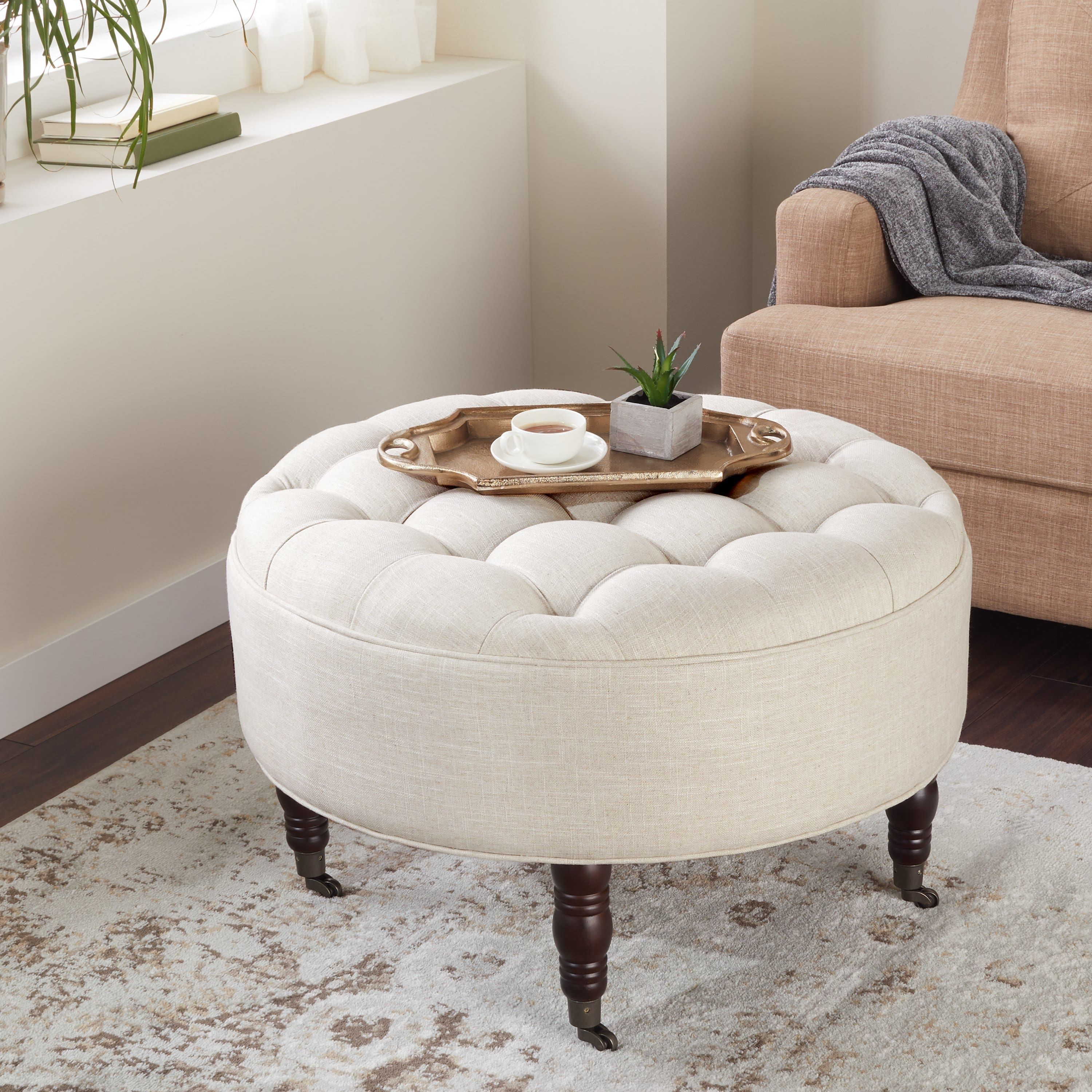 Abbyson Clarence Tufted Round Ottoman White Furniture Living