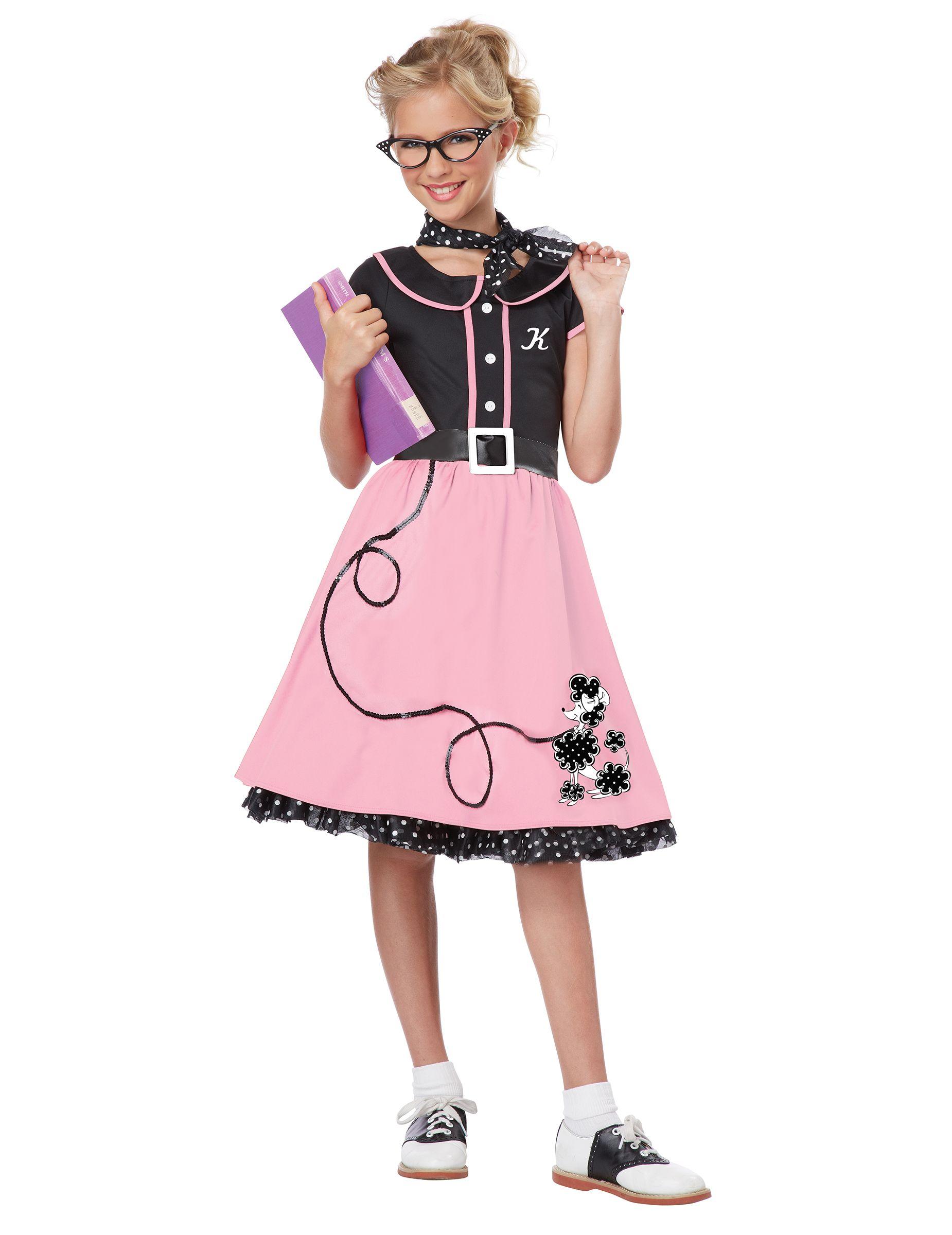 Disfraz años 50 niña Este disfraz de los años 50 es para
