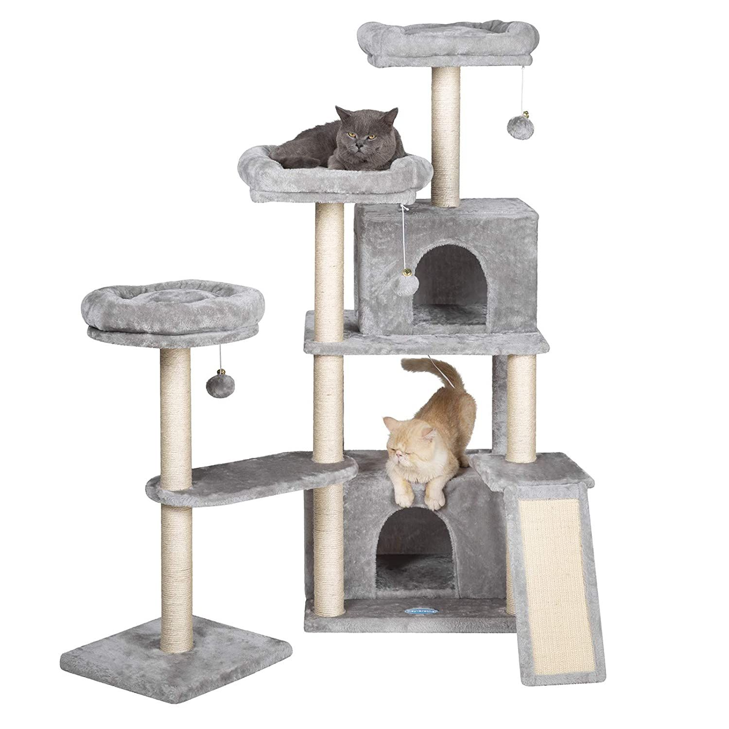 Hey Brother Multi Level Cat Tree Condo Furniture With Sisal Covered Scratching Posts For Kittens Cats And Pets See T Cat Tree Condo Cat Tower Diy Cat Tree