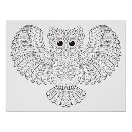 Owl Coloring Poster Colorable Owl Art Poster Zazzle Com Owl Art Owl Artwork Poster Art