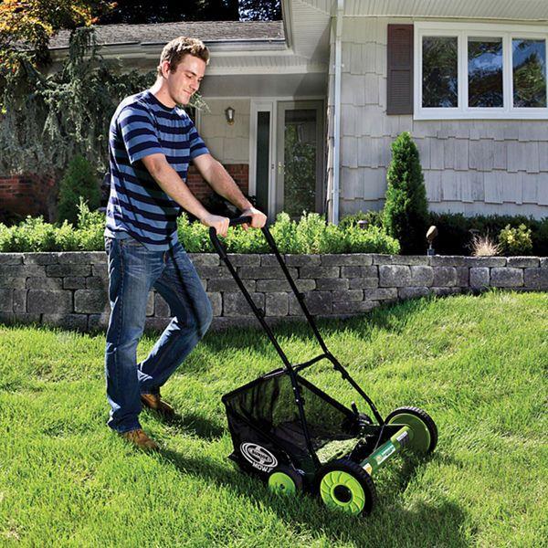 Walk Behind Manual Lawn Mower Push W Grass Catcher Basket Bag Garden Tools Yard Manual Lawn Mower Reel Lawn Mower Push Lawn Mower