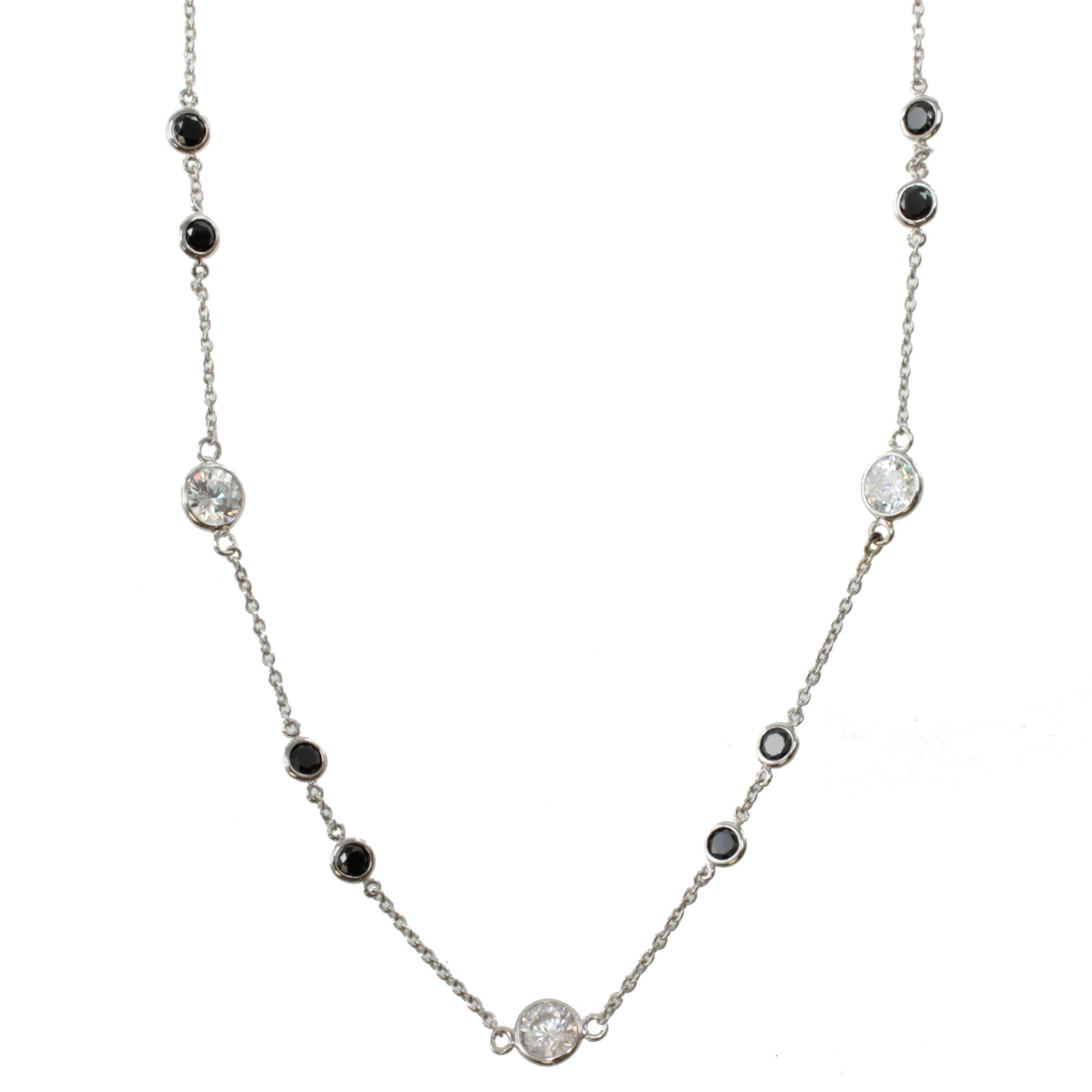 Michael valitutti k white gold black and white cz station necklace