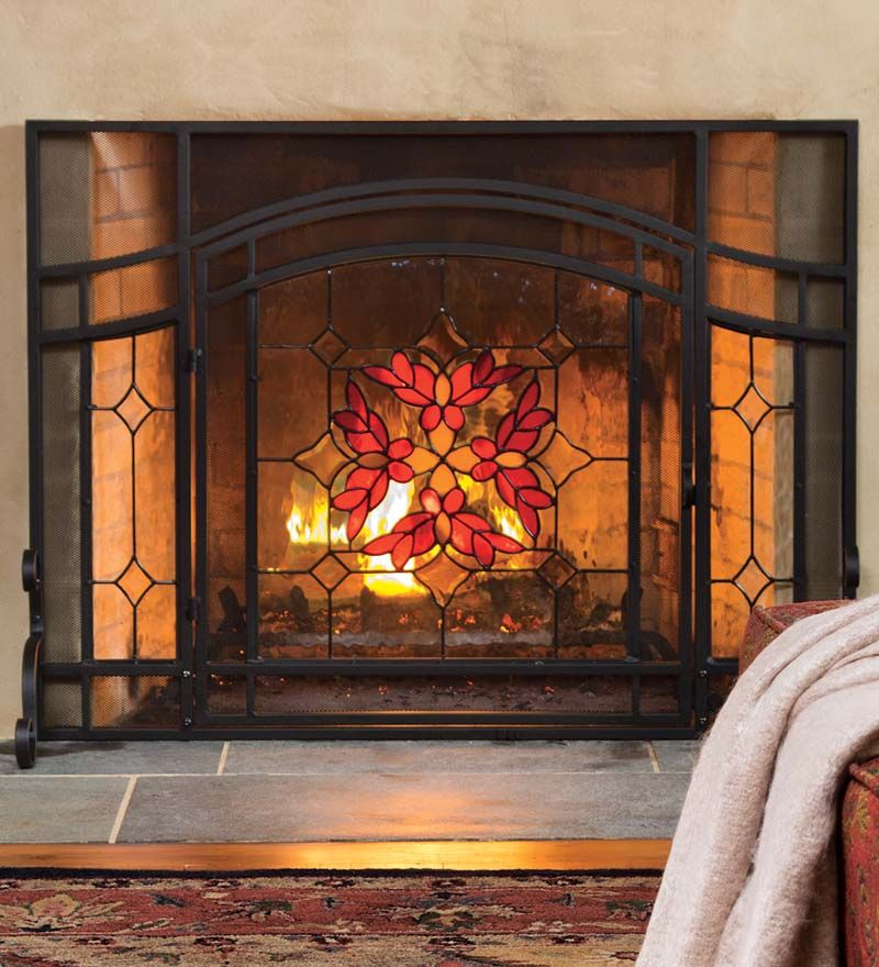 44w X 33h Stained Glass Fire Screen With Door Plowhearth