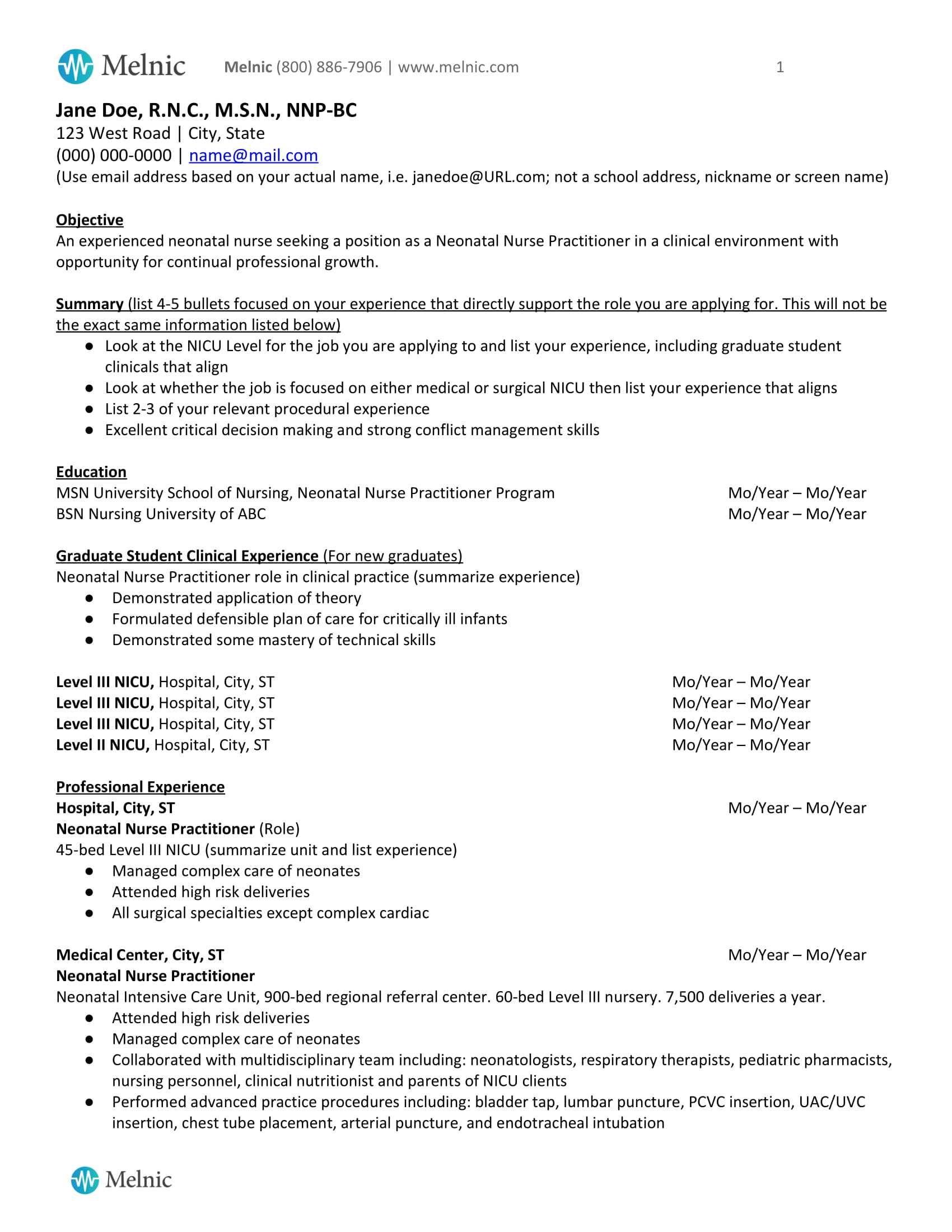 Neonatal Nurse Practitioner Sample Resume For Job Seekers Melnic Neonatal Neonatal Nurse Practitioner Nurse Practitioner Student New Grad Nursing Resume