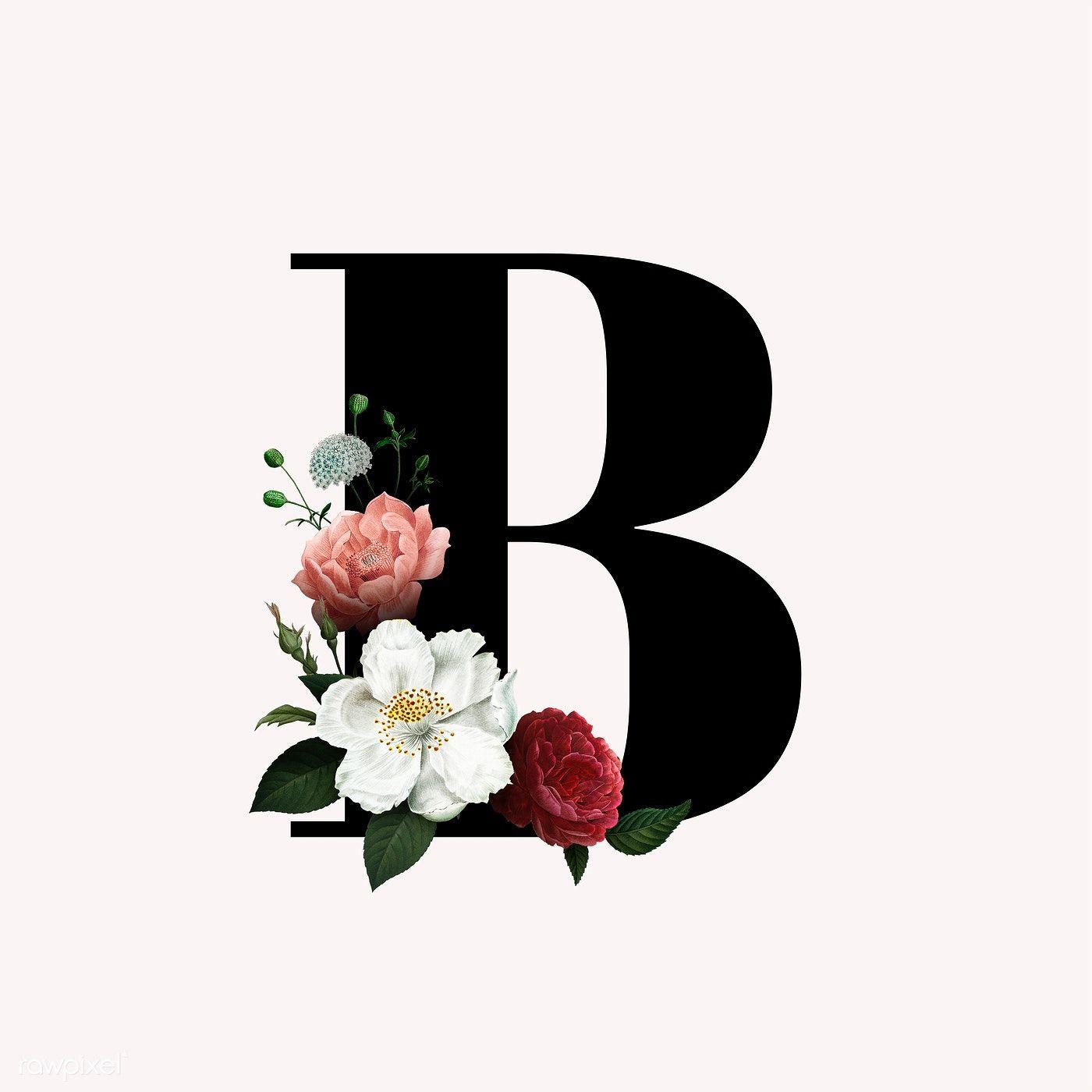 Classic And Elegant Floral Alphabet Font Letter B Free Image By Rawpixel Com Resim Duvari Balonlar Tablolar