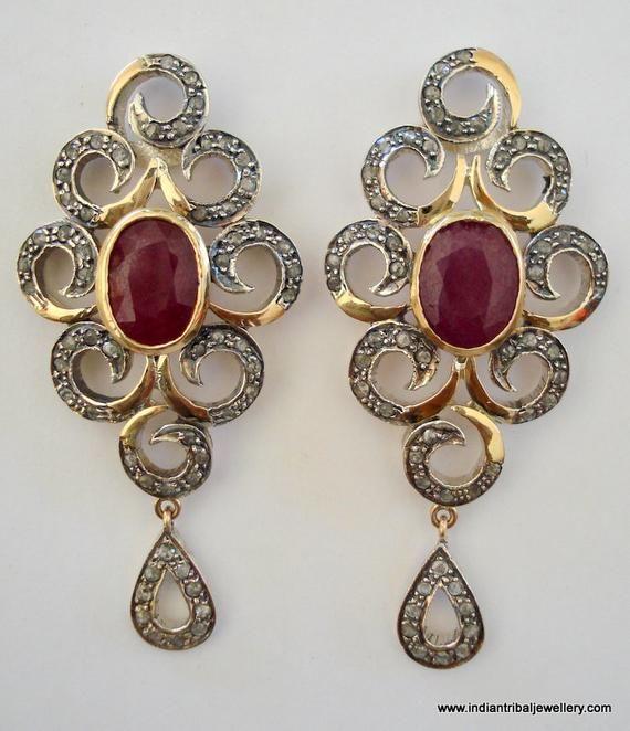 victorian diamond ruby 14k gold silver earrings india in