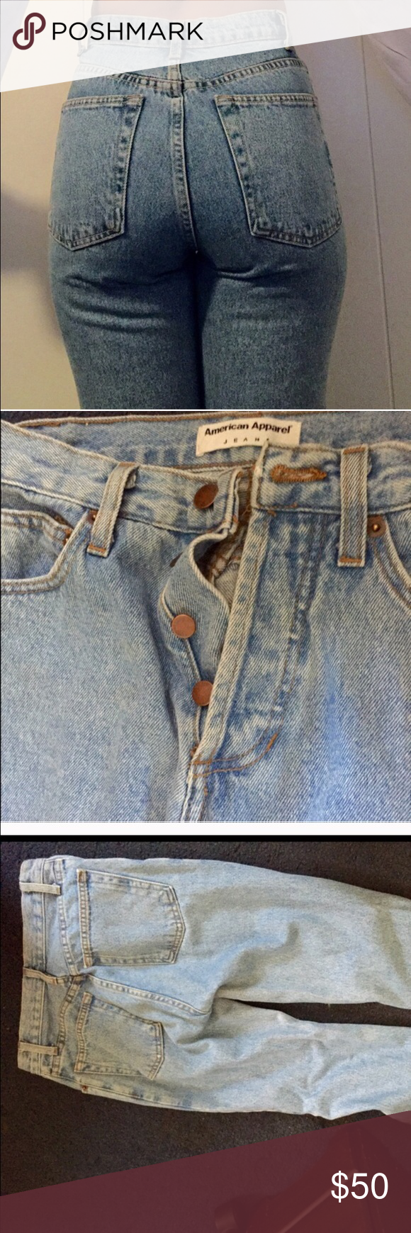 Vintage high waisted mom jeans AA American apparel Vintage high waisted mom jeans AA (American apparel ) size 25 perfect condition doesn't fit me anymore American Apparel Jeans