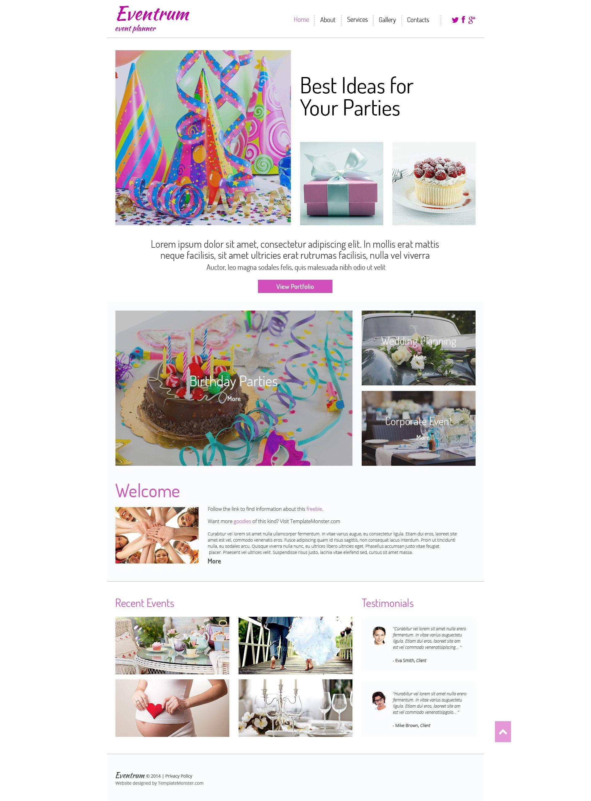 free event planner website template http www freetemplatesonline