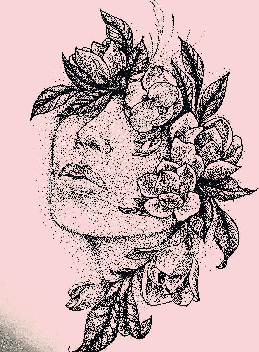 dotwork - forever <3 #tattooart #thrartoftattoos #blackwork #dotwork #iblackwork #face #flowers #girls #tattoo #art