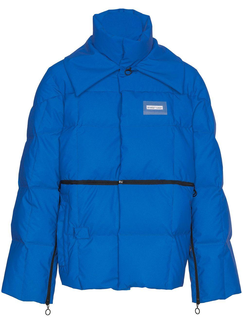 Off White Reflective Puffer Jacket In Blue Modesens Jackets Men Fashion Mens Jackets Leather Jacket Men [ 1334 x 1000 Pixel ]