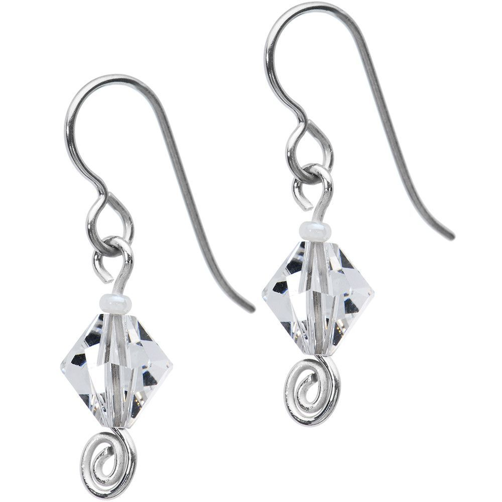 Titanium April Birthstone Earrings Created with Swarovski Crystals