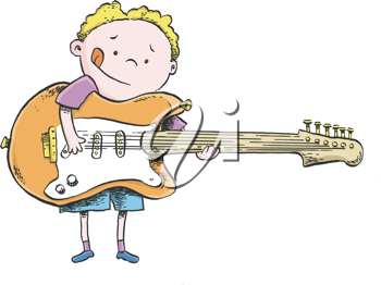 Royalty Free Clipart Image Of A Boy With An Electric Guitar