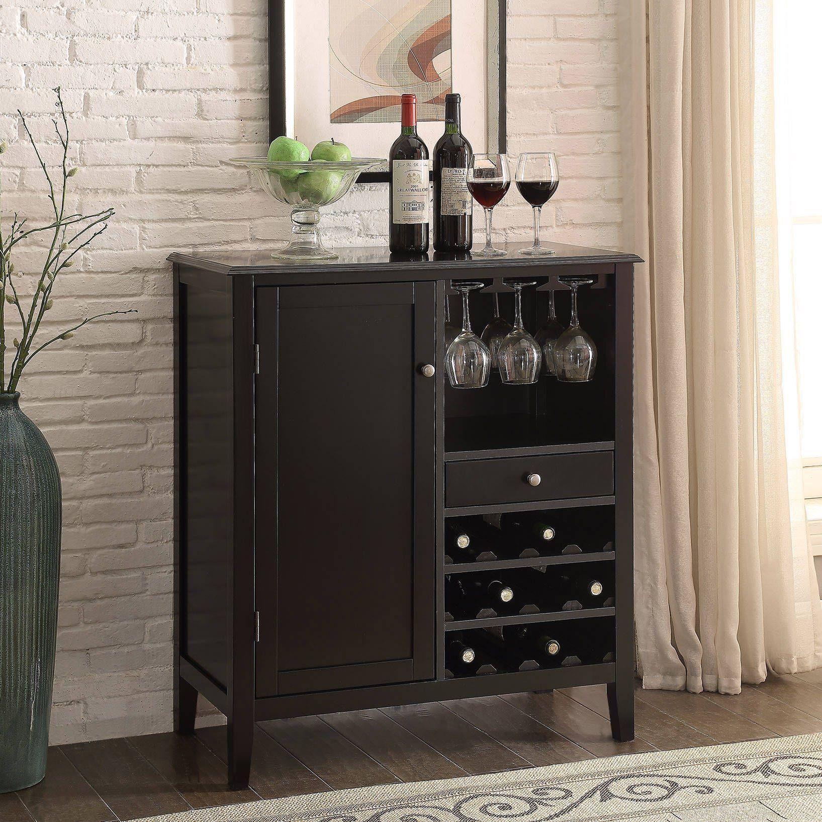 Briarwood Home Decor 36 inch Black 12 bottle Wine Storage Cabinet