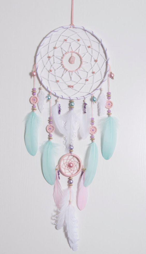 Large Pink Mint Dream Catcher Bohemian Dreamcatcher