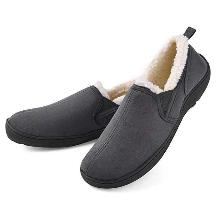 Men Comfort Cozy Moccasin Slippers Wool-Like Plush Fleece