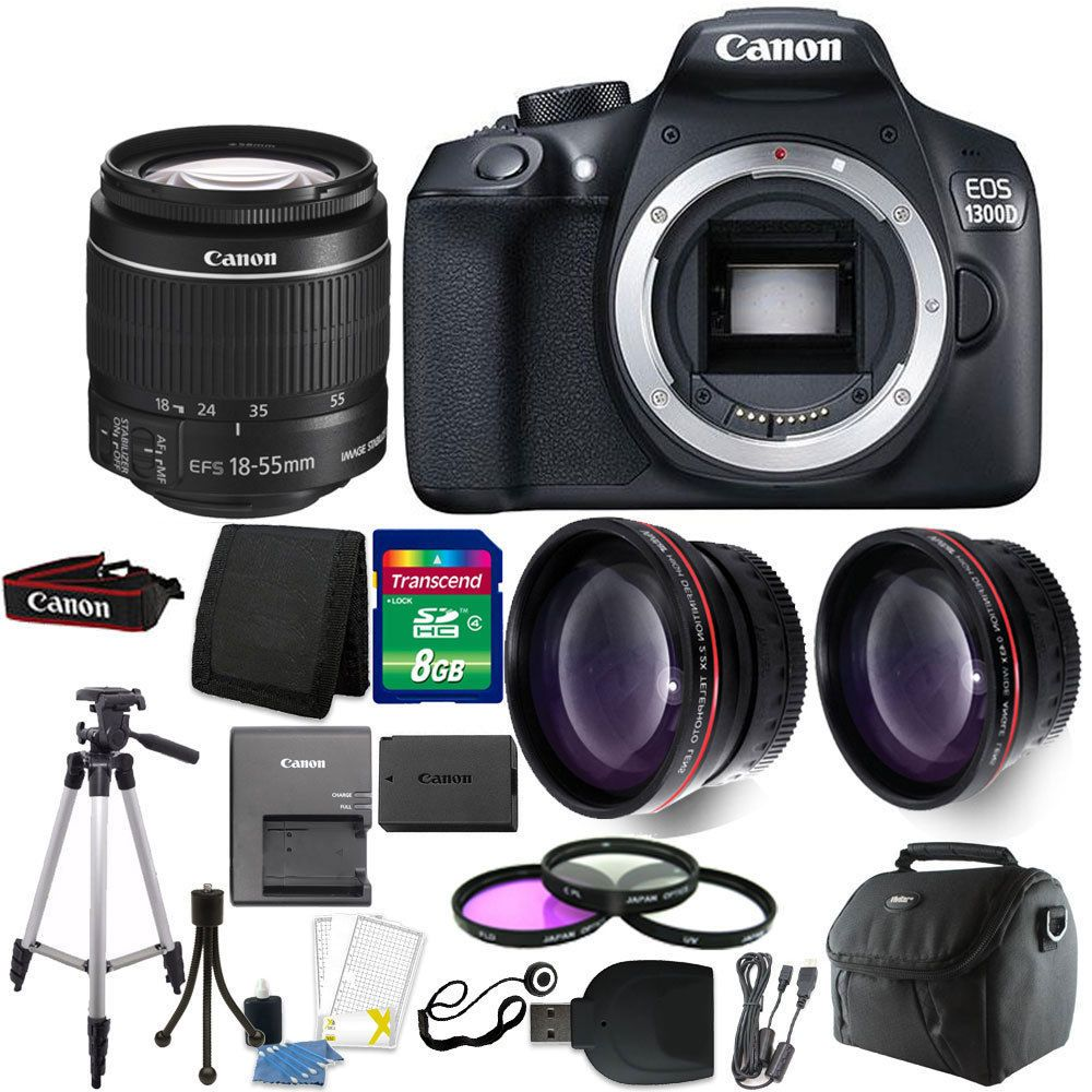 Canon Eos 1300d T6 18mp Dslr Camera 18 55mm Lens Accessory Kit
