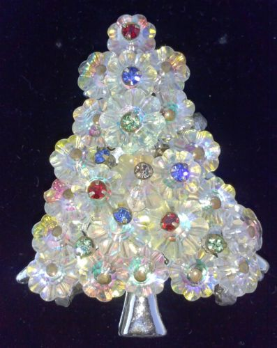 vintage christmas tree pin collectible rivoli glass crystal holiday pin ebay