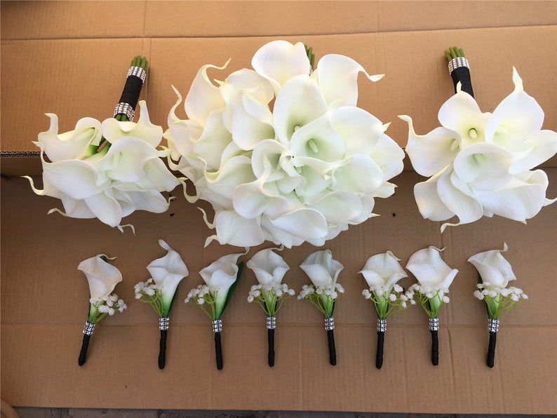 White Calla Lilly Bouquet White Bridal Bouquet Bridesmaids Bouquet White Call Lily Boutonniere PU Real Touch Calla Lilies Bouquets DJ-77