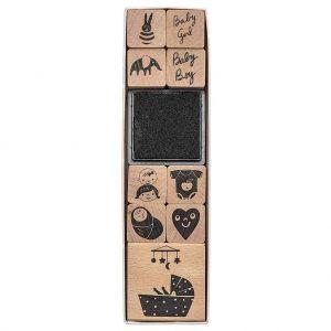 Set de 9 tampons en bois avec encreur – Naissance pour bébé