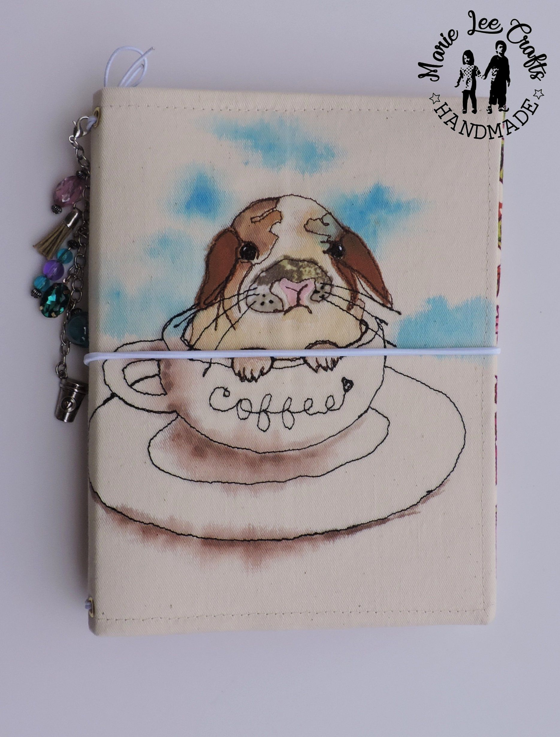 5929b09f82c17 B6 size Travelers Notebook Fabric Cover, Holland Lop Bunny in A Cup ...