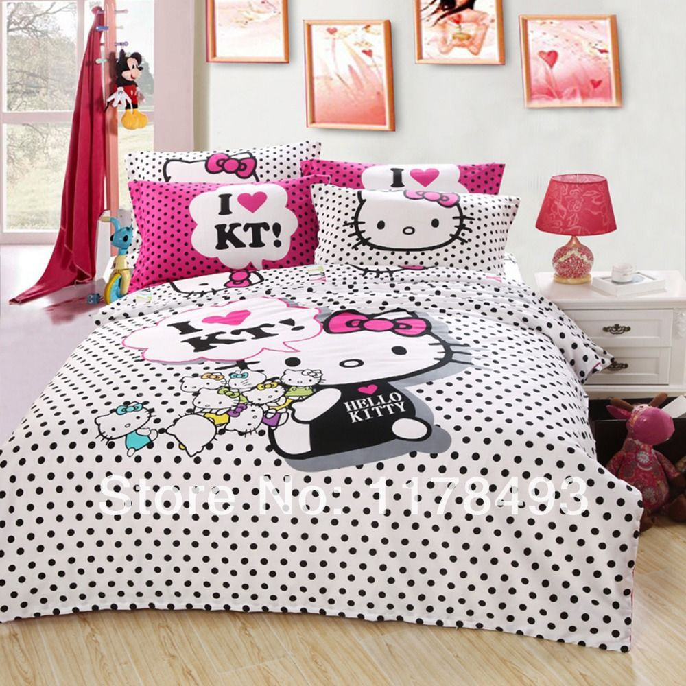 Hello kitty bed set queen size - Cotton Hello Kitty Kids Bedding
