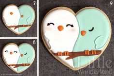 Decorated Love Bird Cookies |  Royal Icing Recipe and Tips | http://www.gourmet-cookie-bouquets.com/design/2010/03/05/royal-icing-recipe-and-tips/