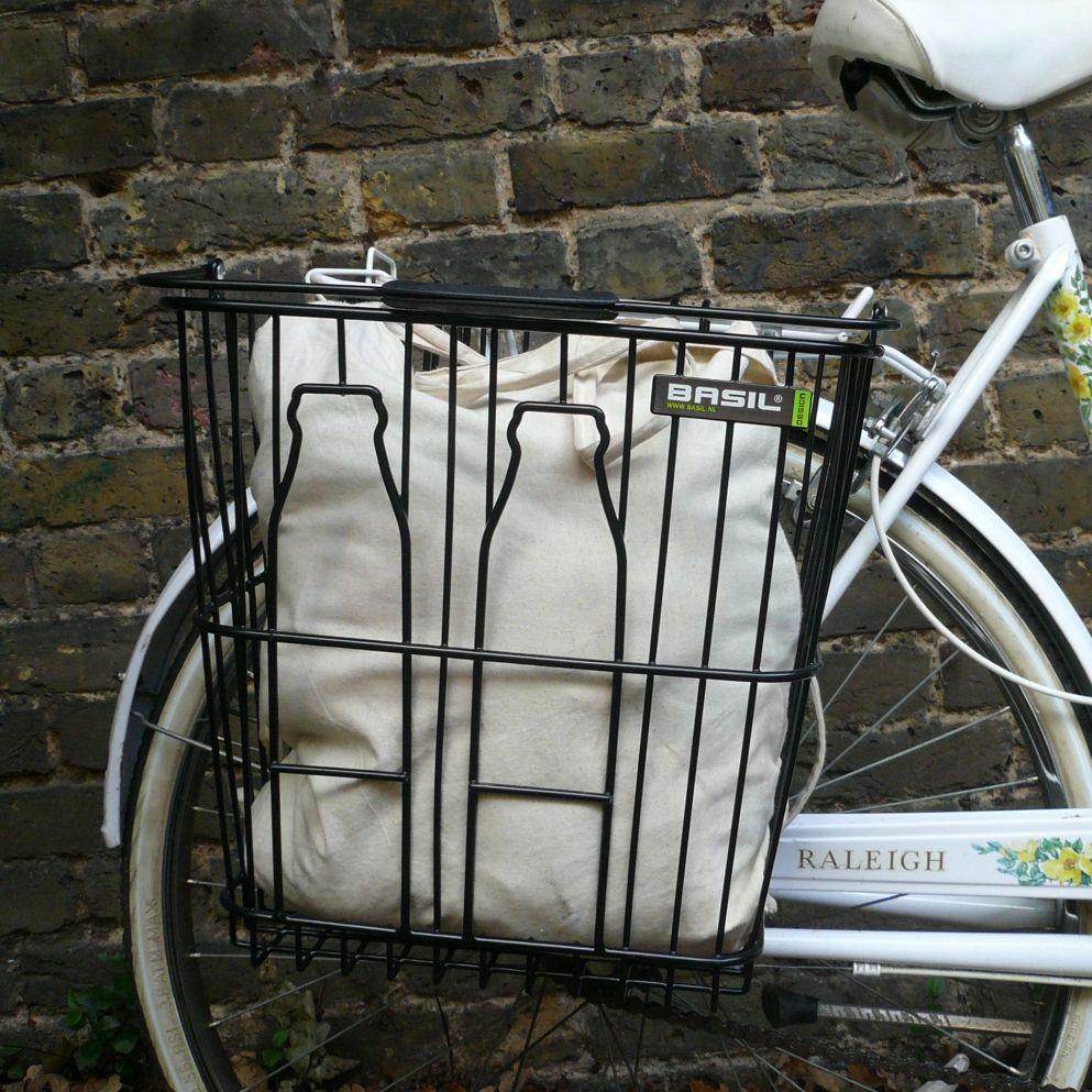 Basil Milk Bottles Bike Basket Green Bike Baskets Milk Bottles