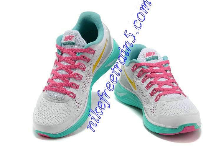 best website 41b34 2f795 Womens Nike Lunarglide 4 White Pink Green Yellow 580422 173