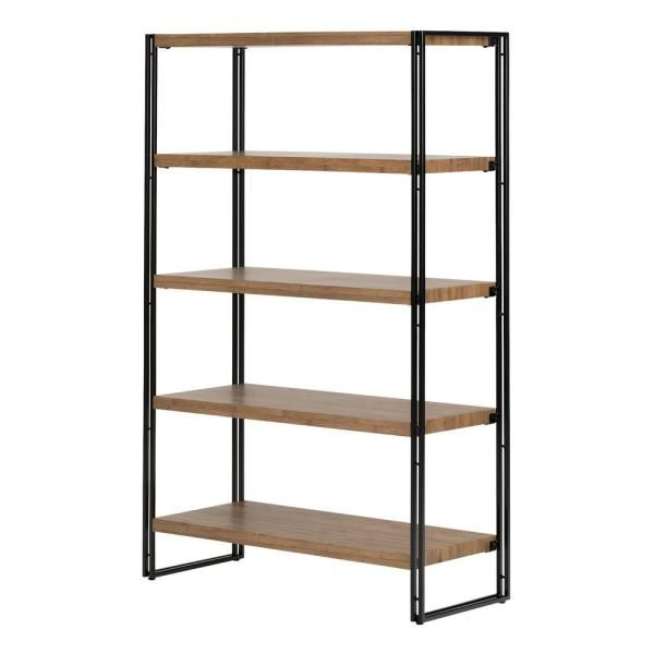 South Shore 61 5 In Rustic Bamboo Metal 5 Shelf Accent Bookcase With Open Back 11521 The Home Depot In 2020 Shelving Unit Shelving Industrial Shelving Units