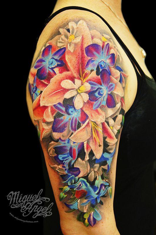 Feminine Flower Tattoo Designs: Colorful Flower Tattoo, Feminine
