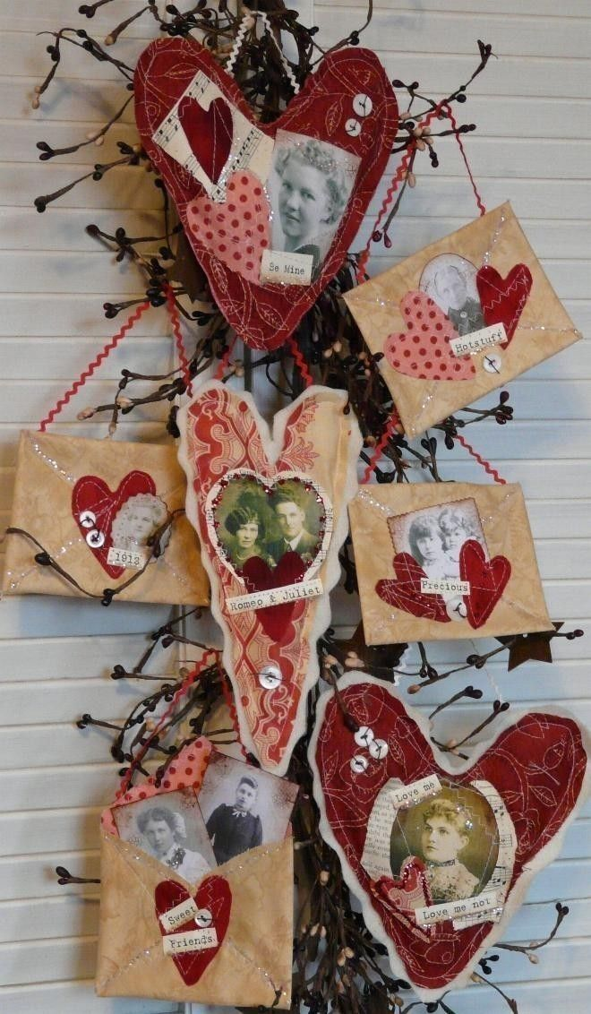 primitive valentine altered art hearts envelope e pattern pdf email letter tokens of my affection old photos sayings words decor via etsy