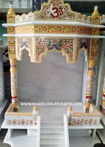 White Marble Carved Indoor Temple Pooja Mandir Pooja