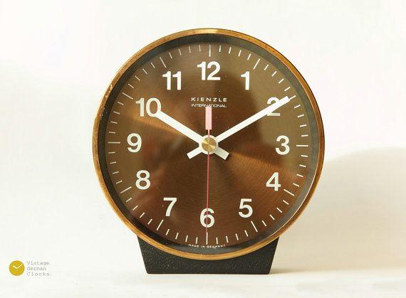 Mid Century KIENZLE Desk Table Clock - Copper -  Bauhaus Germany mcm 70s - Tischuhr Kaminuhr