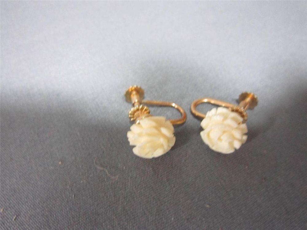 93f70b2b4 Vintage Krementz Faux Ivory Rose Earrings Screw On Earrings Vintage Jewelry