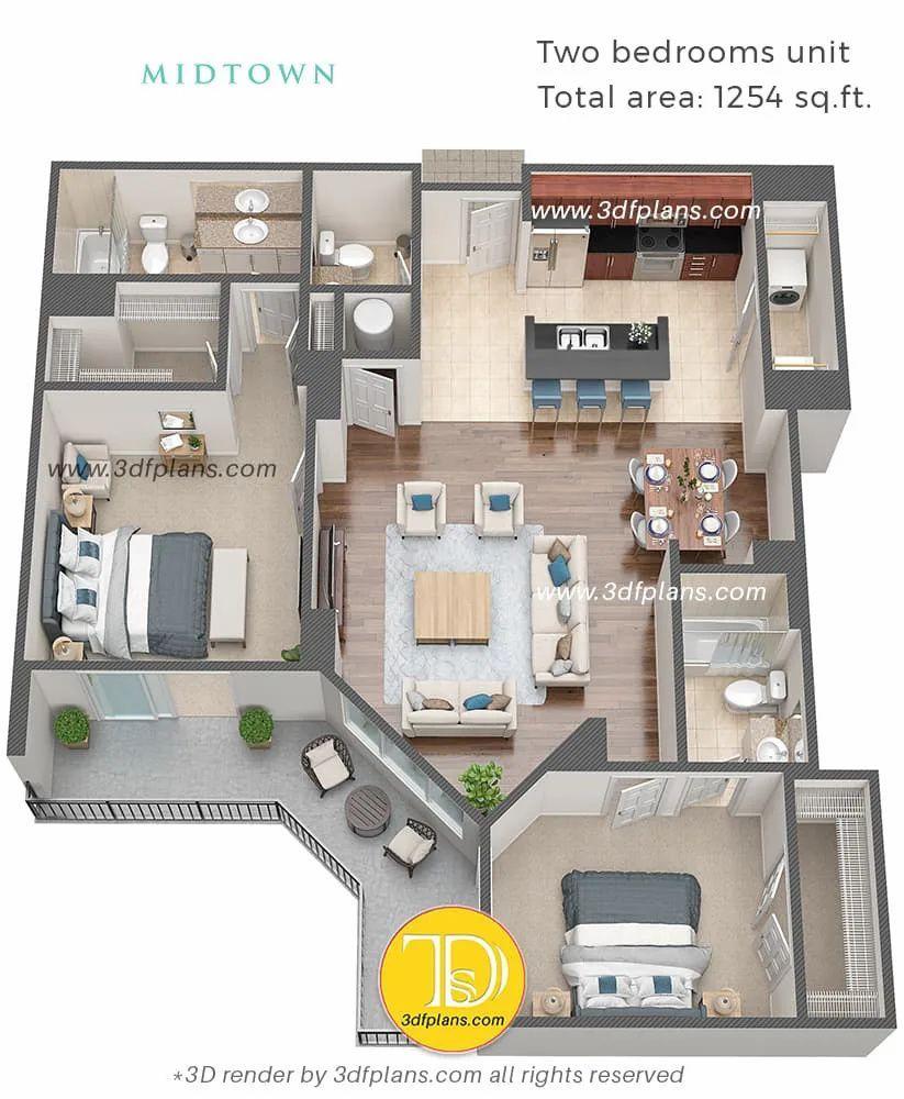 3d Floor Plans Midtown Florida 3d Floor Plans House Floor Design Small House Design Plans My House Plans