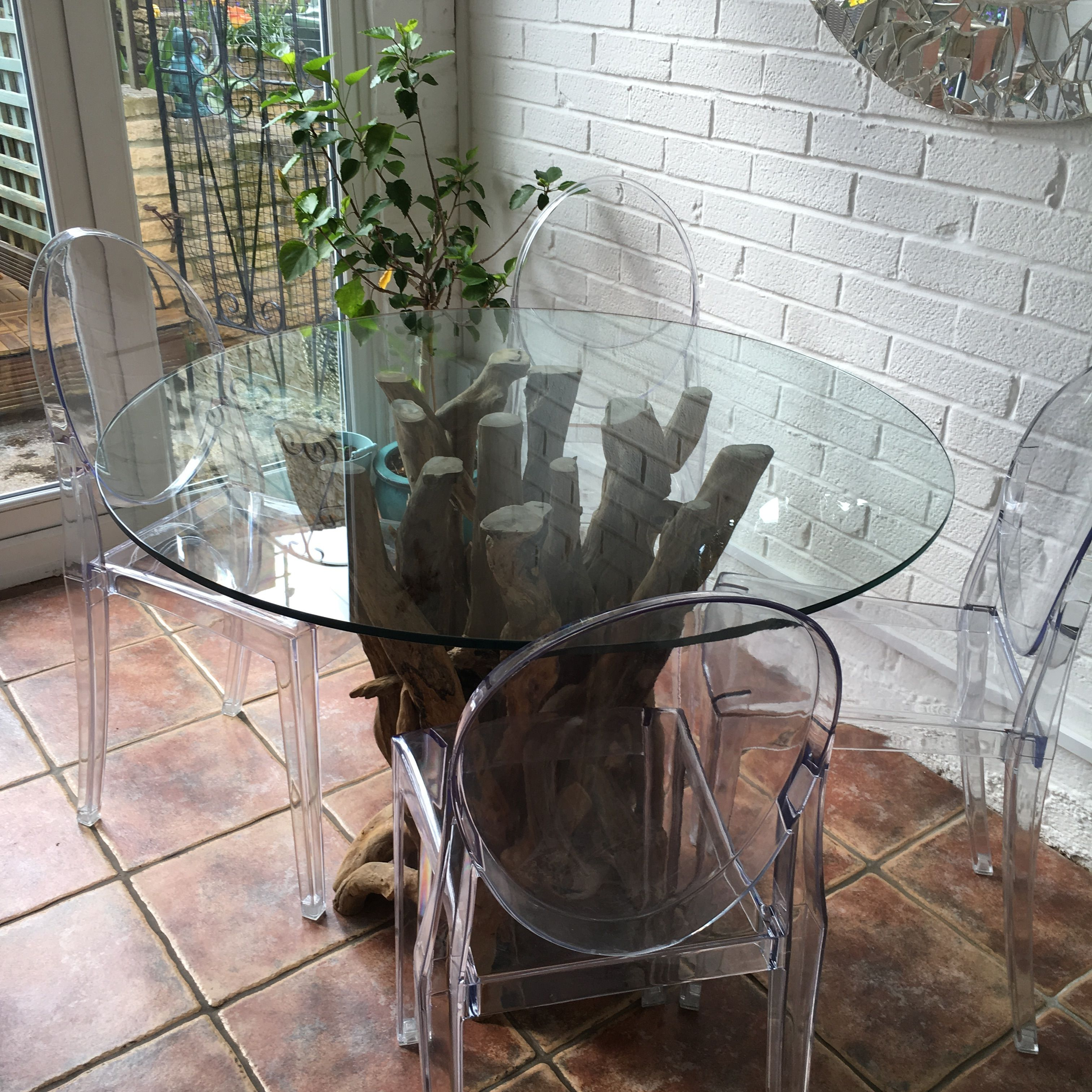 Natural Driftwood Round Dining Table Base with Glass Top to seat 4