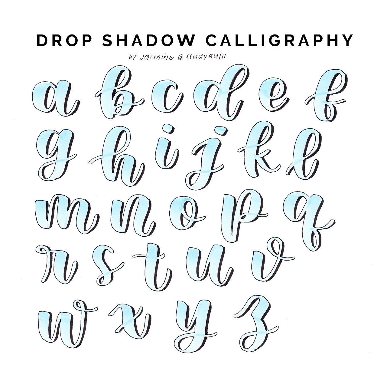 Calligraphy Drop Shadow Reference Sheet See The Process For Some Of These Letters In This Video Lettering Guide Lettering Practice Lettering