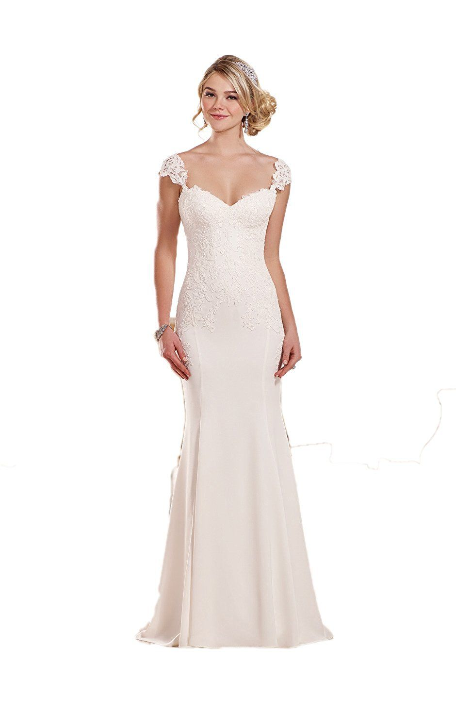Mermaid wedding dresses with sleeves  Kaitaijidian Womenus Sexy Lace Cap Sleeve Sweetheart Long Mermaid