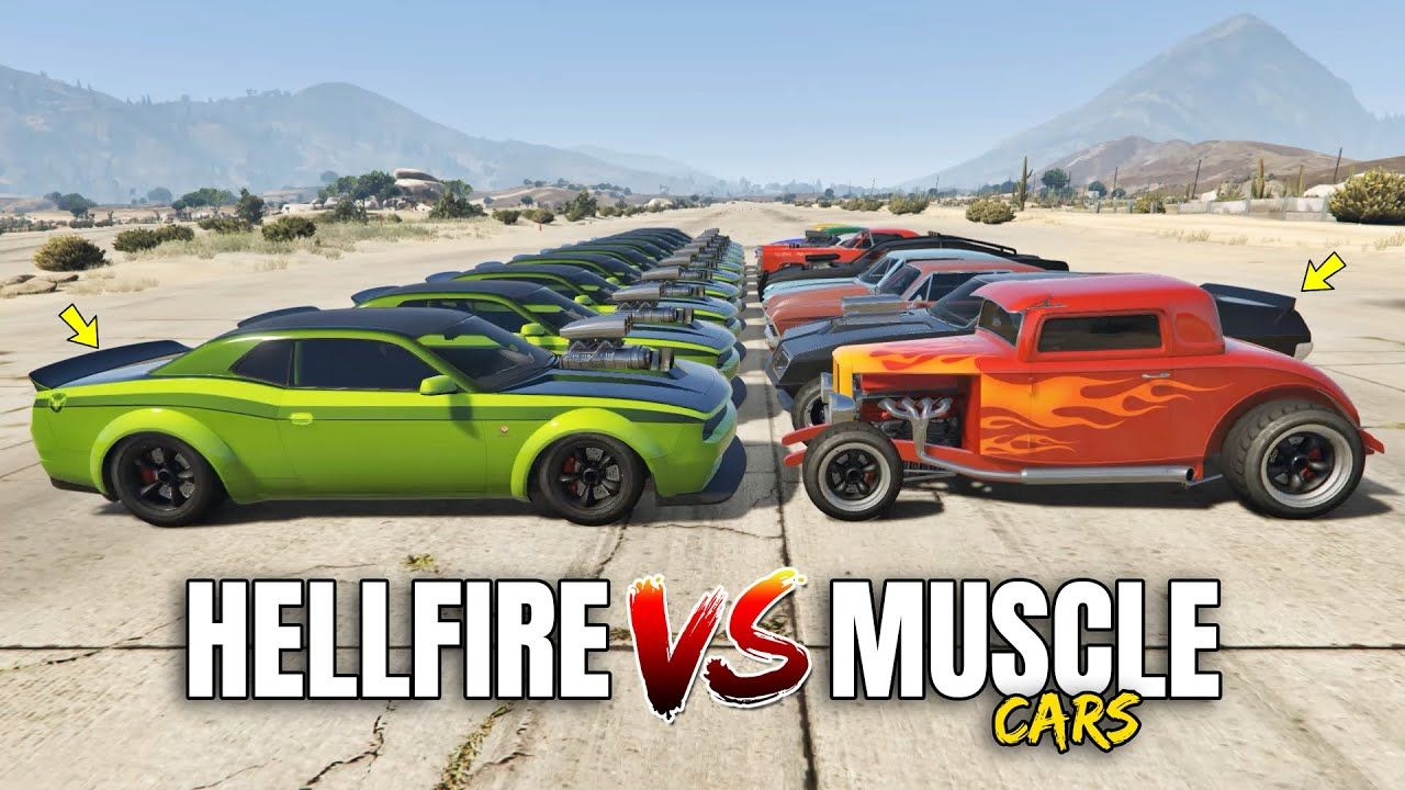 GTA 5 Online GAUNTLET HELLFIRE VS 10 FASTEST MUSCLE CARS