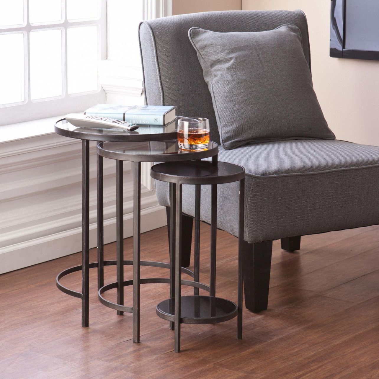 Elegant set of Bronze and Antique Mirrored Nesting Tables