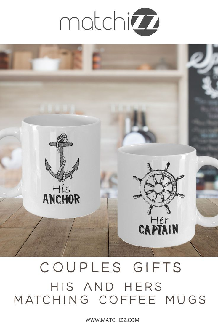Couple Matching Mugs Set Her Captain His Anchor Cruise
