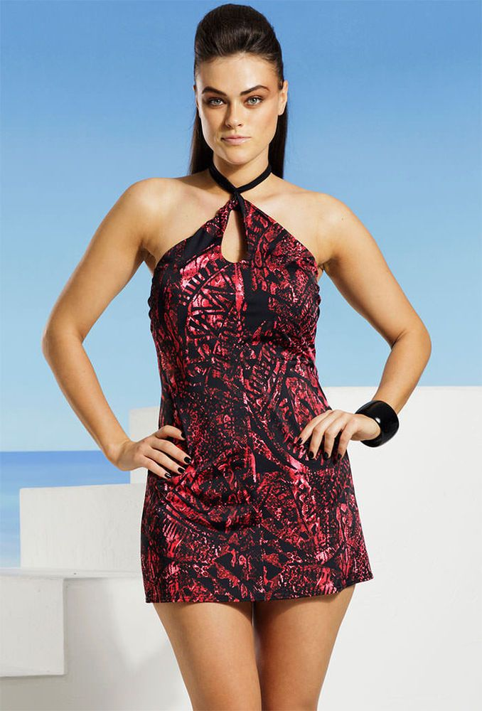 d5fd67552ff6a Fab find Tropiculture Plus Size Snake Charmer Key Hole Swimdress   Tropiculture  SwimSkirt