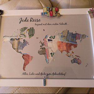Money gift * World map * every trip.. Birthday