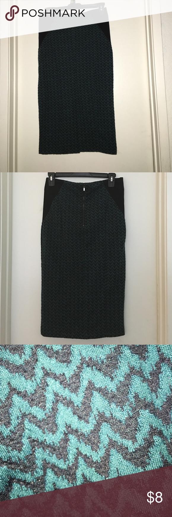 Pencil skirt Teal/black pencil skirt with slit Skirts Pencil