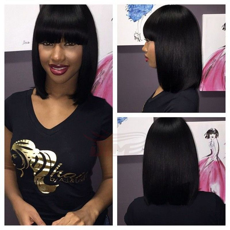 Lace Front Short Bob Human Hair Wigs With Bangs Glueless Straight Peruvian Virgin Hair Short Human Hair Wig Bob Style For Black Women Quality Full Lace Wigs Wig Long Hair Styles