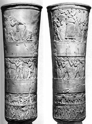 Warka Vase Aka Sculptured Uruk Vase Alabastor From Uruk