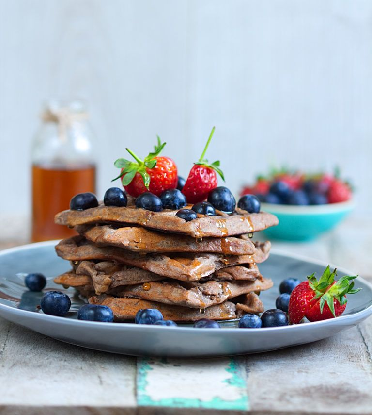 Gluten Free & Vegan Cacao Protein Waffles (With images